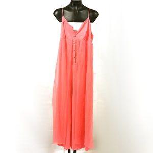 VTG 60s Hot Pink Silky Jumpsuit Nightie Lingerie
